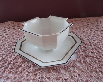 BERNARDAUD Limoges France PRINCE NOIR Pattern Gravy Dish (Sauce Dish) w/ Attached Underplate.. Discontinued