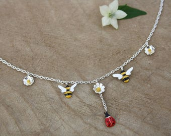Handmade silver ladybird and bee necklace, enamelled necklace, silver jewellery