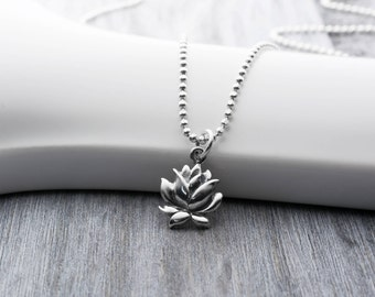 Blooming Lotus Flower Necklace, Sterling Silver Lotus Necklace, Lotus Flower Jewelry, Lotus Flower Charm, Delicate Flower Necklace, Yoga