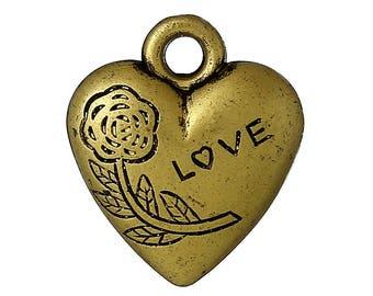 10 charms heart love bronze pendant 21x18mm