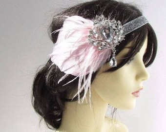 Light Baby Pink Silver Feather Headband 1920s Great Gatsby Flapper Vintage 2516