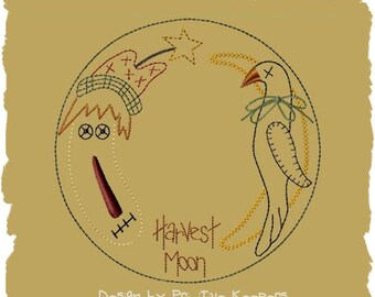 Primitive Machine Embroidery--Harvest Moon Candle Mat-4 Inch-Version 2--INSTANT DOWNLOAD