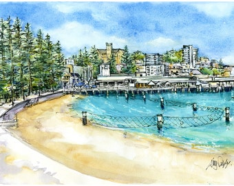 """Manly Wharf Watercolour Painting - Print titled, """"Manly Wharf"""", Sydney, Australia, Sea, Manly Australia, Beach Decor, Print, Watercolor"""