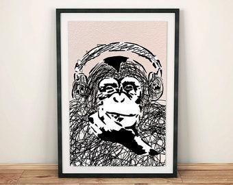 Steez Headphone Monkey, Monkey Wearing Headphones Stencil Graffiti Inspired Art Print Poster Downloadable Digital Print