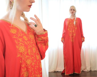 Red and gold embroidered Indian caftan dress Longsleeve side pockets bohemian goddess ethnic