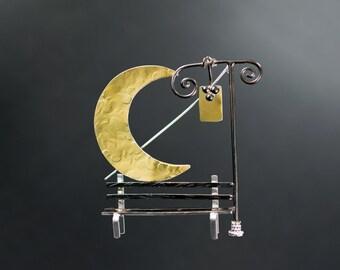 Big brooch, crescent moon brooch, sterling silver brooch pin, unusual broach, statement broach
