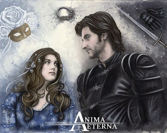 """My Beloved -Maid Marian and Guy of Gisborne- Robin Hood Traditional Art Watercolor Painting -Photo Print 20x30cm (7.9"""" x 11.8"""") -Hand Signed"""