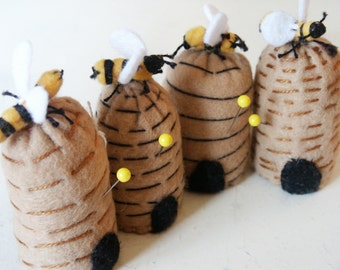 Made to order -  Mini Beehive small bottlecap Pincushion  free usa ship