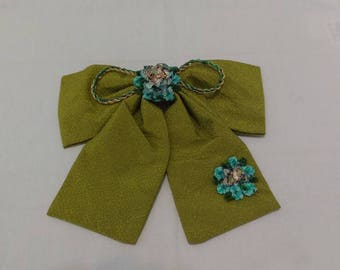 Moss Green Chrimen Hairbow with Stylized Blue Hydrangeas