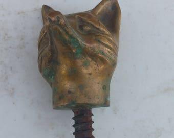 Brass Fox Head w/ screw bottom