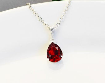 Ruby Red Necklace Silver - Swarovski Necklace - Bridesmaid Necklace - Red Crystal Teardrop Necklace - Bridal Jewelry - Bridesmaid Jewelry