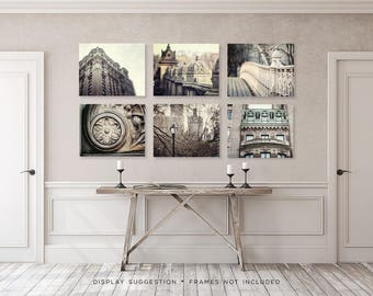 New York City Wall Art Gallery Set of 6, New York City Prints, Architecture Art, Neutral Gray Home Decor, Dining Room Wall Art, Urban Art.