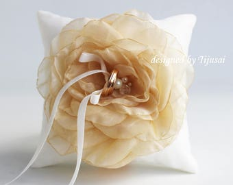 Wedding ring bearer pillow with light yellow flower ---wedding ring pillow, wedding pillow, ring bearer, ready to shipp