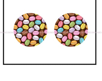 """2 cabochons glass """"Of macaroons"""""""