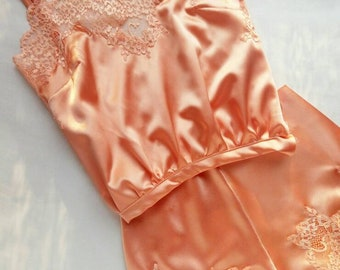 Silk camisole decorated with lace,  vintage inspired lingerie,