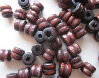 Brown Wood Tube Beads 10x9mm 14 Beads