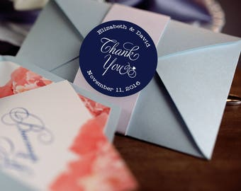 Thank you Stickers, Custom Labels - Round Wedding labels - Bridal Shower stickers - Wedding Candy Stickers - Wedding Favor Stickers