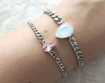 Pear&Tear Duo -colors of your choice- Swarovski, Stainless Steel curb chain bracelet