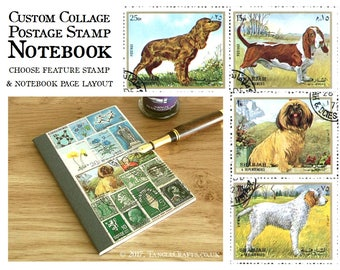 Dog Lover Notebook, A6 Pocket Journal | Upcycled Dog Postage Stamp - Basset Hound, Shih Tzu etc  | custom collage of recycled vintage stamps
