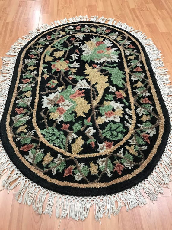 """2'6"""" x 3'9"""" Indian Tufted Floral Oriental Rug - Hand Made - 100% Wool"""