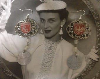 DEUTSCHLAND German vintage assemblage souvenir earrings old coins, upscaled/ repurposed, akterrd art mixed media