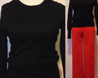 80s 90s black long sleeve t shirt top sweater crew neck hipster mod