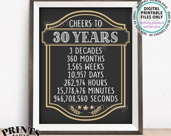 """Cheers to 30 Years, 30th Birthday Sign, 30th Anniversary, Cheers & Beers, Beer Party Sign, Retirement Party, PRINTABLE 8x10/16x20"""" Sign <ID>"""
