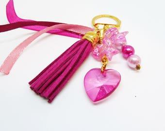 Porte clef / bijou de sac thème pompon rose