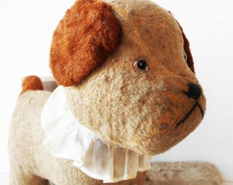1800s Straw Stuffed Antique French Toy Dog