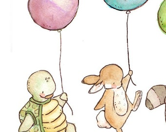 Children Art Print. Balloon Parade. PRINT 8X10. Nursery Art Home Decor