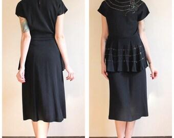 1940s Dress // Confetti Surprise Rayon Dress // vintage 40s dress