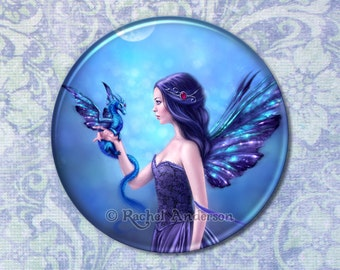 Iridescent Fairy & Dragon Art Pocket Mirror