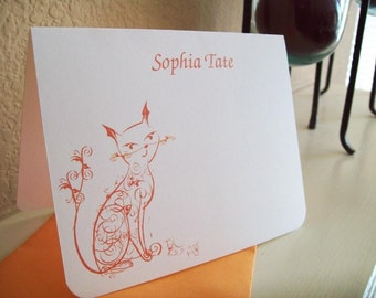 Sophisticated Orange Cat Stationery.  Monogrammed / Personalized Set of 10 notecards w/ envelopes