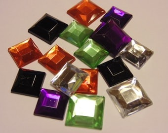 16 piece mix of assorted rhinestone squares, 12-14 mm (B5)