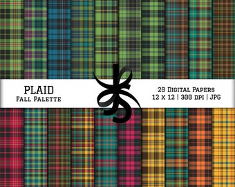 Digital Scrapbook Papers-Fall Palette Plaid-Plaid Patterns-Preppy Papers-Fall Clipart-Wallpapers-Backgrounds-Instant Download Clip Art