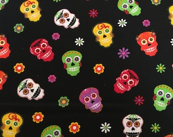 Sugar skulls fabric by the yard - dia de los muertos fabric - day of the dead fabric - calavera fabric - #16499