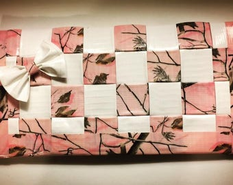 Sale White and Pink With Trees Woven Duct Tape Womans Wallet