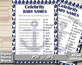 Nautical Celebrity Baby Name Game - Celebrity Baby Shower Game - Nautical Celebrity Baby Name Game in blue sea - Instant Download - na1