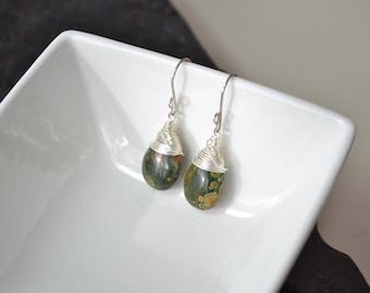 Rainforest Jasper Earrings, Natural Gemstone Jewelry, Green Stone Earring