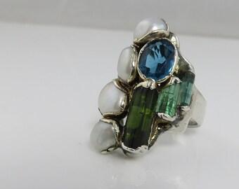 Vintage Sterling Studio Modernist Multi Gem Stone Ring Big Tourmaline Topaz Pearl Amethyst