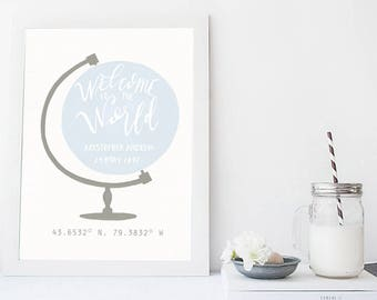 Personalized Nursery Wall Art, Printable Art, Boys Room Wall Art, Nursery Wall Art, Custom Nursery Art Print, Birth Location Print