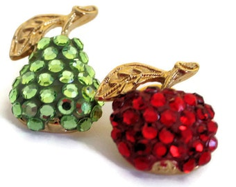 Suzanne Bjontegard Sequin Pear And Cherry Tack Lapel Pins Vintage Fruit Pin Statement Jewelry Summer Jewelry Boho Style Gift For Him