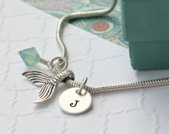 Personalized Mermaid Bracelet - Hand Stamped Bracelet - Personalized Charm Bracelet - Beach Ocean Mermaid Jewelry - Mermaid Gift - Beach -
