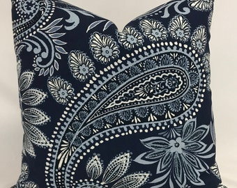 Pillow Cover - Navy Light Blue Paisley Design Pillow - Country Pillow - Farmhouse Pillow -  Fully Lined - Zippered