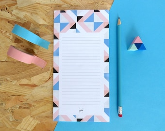 """Bloc-notes imprimé avec motifs géométriques, liste, aide mémoire, """"Belleville"""" - 10,5 x 21 cm - 50 pages détachables"""