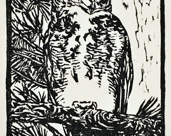 """Great Horned Owl, hand carved woodblock print, 7.25""""x11"""", limited edtion of 100"""
