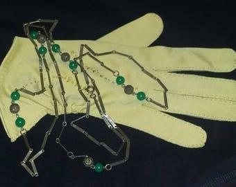 Antique Vintage Peking Green Glass Czech Rare Long Sautoir necklace 1920's estate