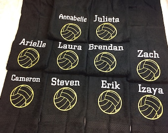 Volleyball, Personalized volleyball towel, with one name and ball, great seller, volleyball team towels, volleyball gift, coach gift