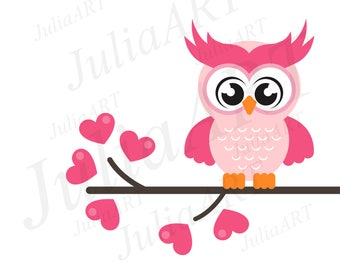cartoon cute lovely owl on the branch vector image