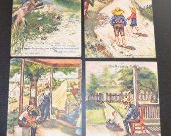 Cobb Shinn Postcard Set of Four Children Illustrations Riley's Poems